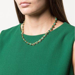Oscar de la Renta Malachite Encrusted Necklace